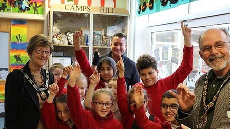 Schoolchildren at Camps Hill in Stevenage have celebrated the school's 60th birthday with a visit fr