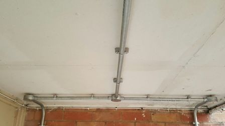 Fittings have not been screwed so they are flush with the ceiling. Picture: Matt Endersby.