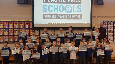 Pupils at Lordship Farm celebrate their new Plastic Free status. Picture: Richard Woodham