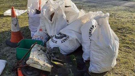 Plastic Free Letchworth were out for their first litter pick of the year on Sunday. Picture: Glyn Ho