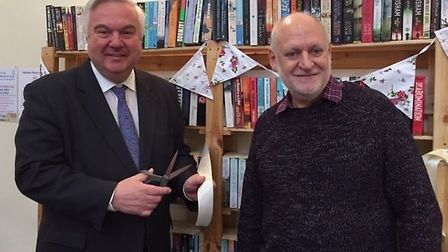 Oliver Heald MP cuts the ribbon with Tim Moody, Parish Council Chairman. Picture: Office of Oliver H