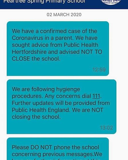 Peartree Spring Primary School confirmed a positive test of coronavirus today. Picture: Supplied