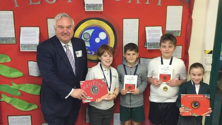Pupils at Pixmore Junior School welcomed Sir Oliver Heald on Friday. Picture: Pixmore Junior School