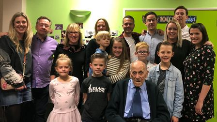 George with his family, including his daughter Julie Page, grandchildren and great grandchildren. Pi