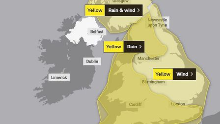 A yellow weather warning has been put in place for Storm Dennis. Picture: Met Office