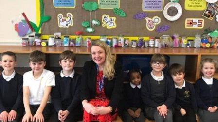 Headteacher Liz Evans with some of the pupils at Trotts Hill Primary and Nursery School in Stevenage