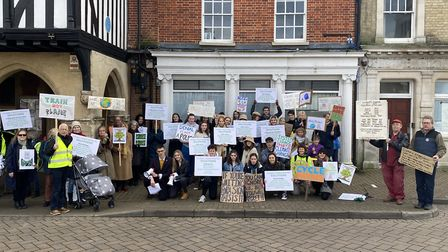 Protesters gathered in front of the Saffron Walden Town Hall on February 14. Photo: ANDRA MACIUCA/AR
