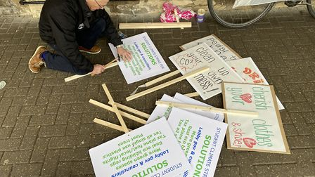 Edward Gildea, Green Party member, working on placards. Photo: ANDRA MACIUCA/ARCHANT.