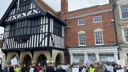 Climate protesters in front of the town hall. Photo: ANDRA MACIUCA/ARCHANT.