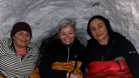 Claire (middle) with two of her fellow adventurers. Picture: Courtesy of Claire Austin.