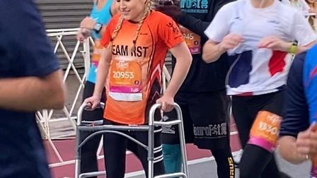 Stevenage's Ellie Dean took on the Miami Half Marathon and left her wheelchair behind for the final