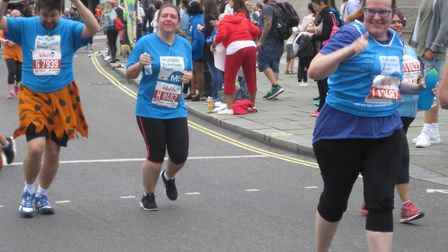 Helena, pictured taking on her first 10k race in 2016, is now training to take on the London Maratho