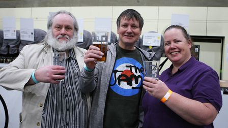 Stevenage Beer and Cider Fest 2020 - David, Paul and Clare Breen enjoy the festival.Picture: Kary