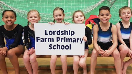 Lordship Farm's talented gymnastic stars Riley, Daniel, Florrie, Amber, Luyanda and Maisie. Picture:
