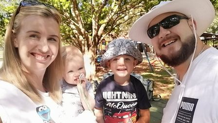 Billie-Jean and Deon Joubert pictured here with their children Robyn and Bear. Picture: Courtesy of
