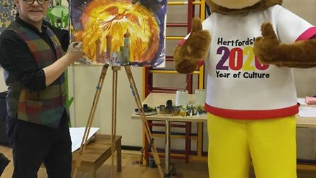 Award-winning author and illustrator James Mayhew with the Hertfordshire Year of Culture 2020 mascot