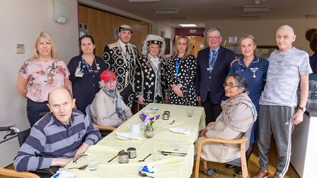 The Pearly King of Royal Kensington Jack James and Pearly Queen of the Borough Wendy Loftus, with st