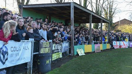 A general view of Hitchin Town's Top Field ground during the FA Cup 1st round match at Top Field. Pi