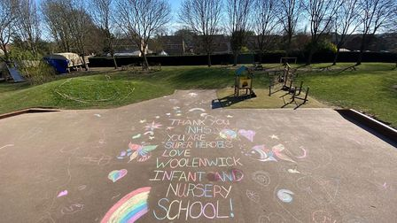 Woolenwick Infant and Nursery School in Stevenage has a message for our NHS 'superheroes'. Picture:
