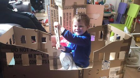 Mum Nicole has been building a pirate ship as part of art and design class. Picture: Nicole Sweeney