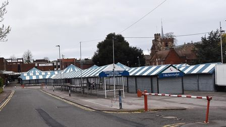 Hitchin Market boarded up and desolate. Picture: Allan J Millard