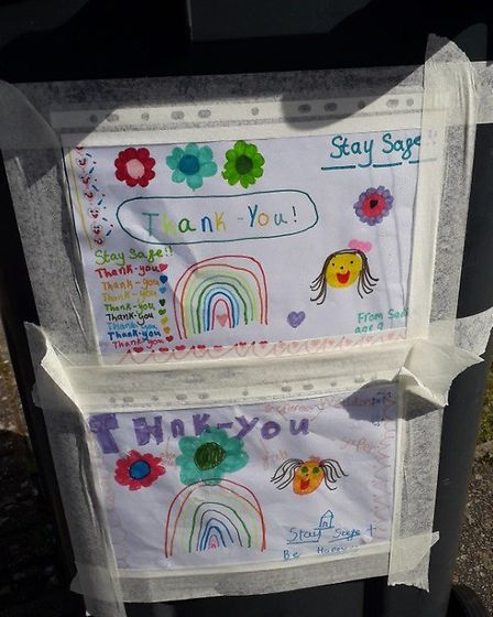Messages of thanks and support have been left on a number of bins in North Hertfordshire. Picture: S
