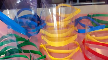 Staff at John Henry Newman School have made visors for workers at Lister Hospital. Picture: JHN