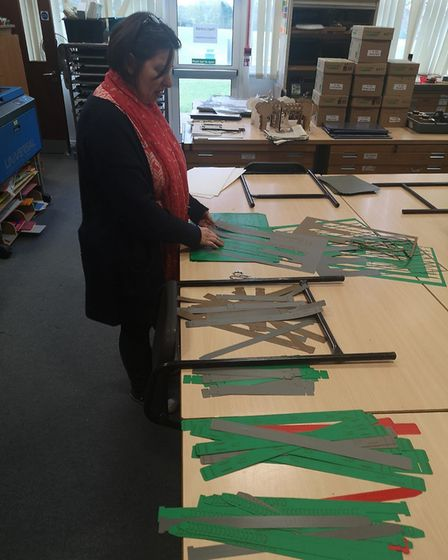 Design and Technology teacher Mrs Trodden has made over 60 protective visors. Picture: Fearnhill