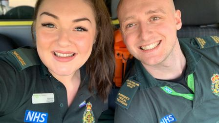 Mairead and Greg at Stevenage Ambulance Station. Picture: Supplied