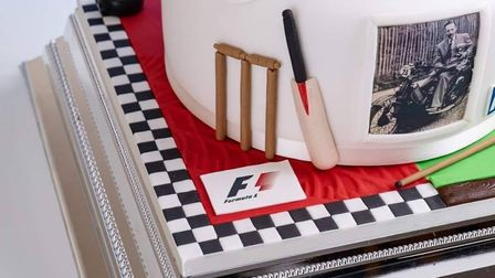 Emma Azzopardi's cake for Captain Tom depicted his love of Formula 1. Picture: Darren Miles from Mil