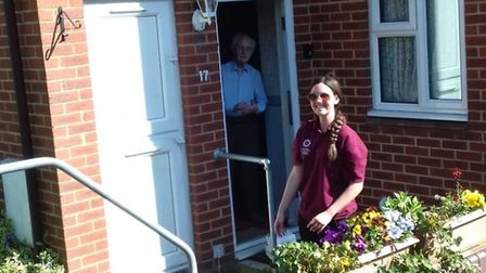 Emma, from Stevenage, delivering medicines to isolated residents. Picture: Supplied