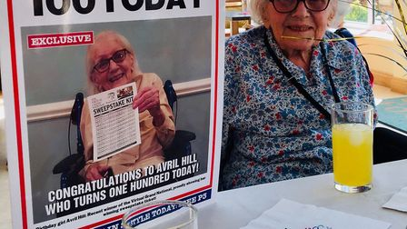 Avril Hill turned 100 at Foxhole Care Home. Hitchin on Saturday, Picture: Supplied