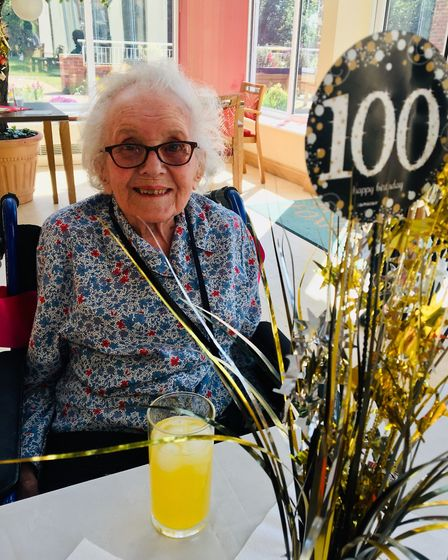 Foxholes Care Home helped her celebrate her centenary in style, with Facebook Portal party. Picture: