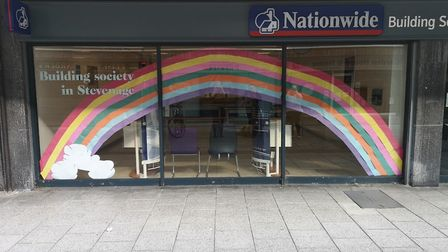 A rainbow thanking the NHS outside Nationwide in Stevenage. Picture: Robyn Chapman