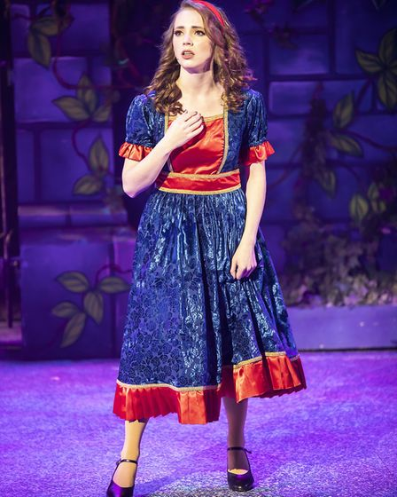 Grace Lancaster as Beauty in pantomime Beauty and the Beast at the Gordon Craig Theatre in Stevenage