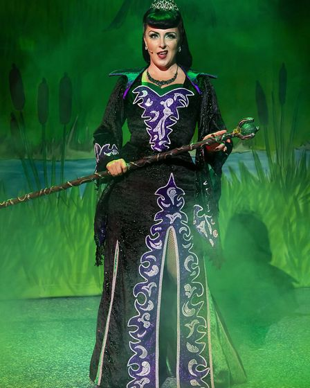 Carli Norris as Malevolent in pantomime Beauty and the Beast at the Gordon Craig Theatre in Stevenag