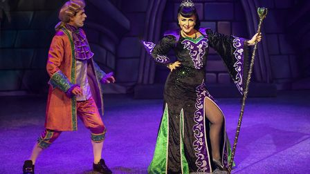 Prince Gallant (Alex Scott Fairley) and Malevolent (Carli Norris) in pantomime Beauty and the Beast