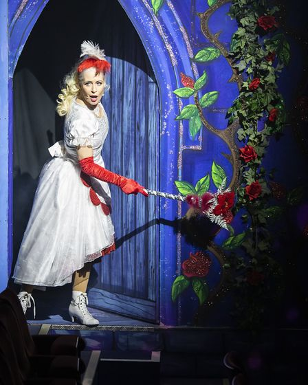 Rebecca Vere as Fairy Formidable in pantomime Beauty and the Beast at the Gordon Craig Theatre in St