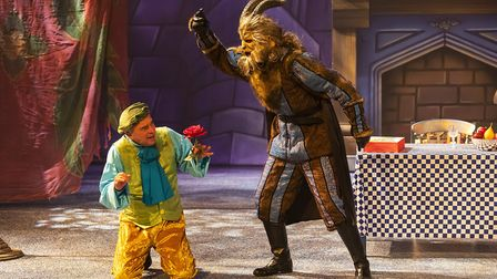 Jean Jacques (Neil Stewart) and the Beast (Alex Scott Fairley) pantomime Beauty and the Beast at the