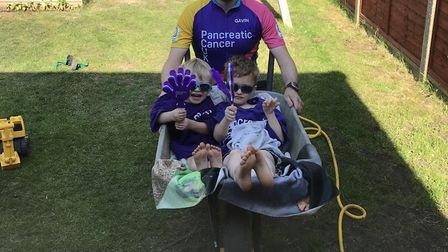 Dad-of-two Gavin Davies was wheeling his two sons around town. Picture: Pancreatic Cancer UK