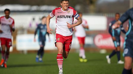 Alex Revell of Stevenage in the League Two game between Stevenage FC v Bury at the Lamex Stadium, St