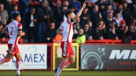 Alex Revell of Stevenage celebrates scoring the equaliser in the League Two game between Stevenage F