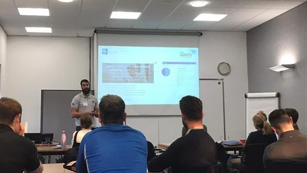 GoVox's Matt Trussell discusses the online mental health tool at a Herts Sports Partnership event. P
