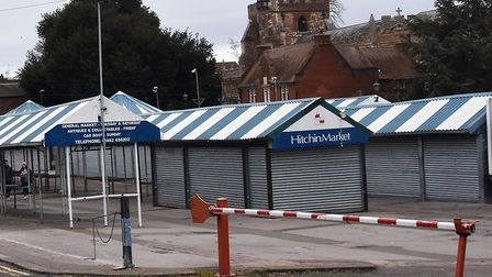 The shutters over Hitchin Market's stalls look set to open again in June. Picture: Alan Millard
