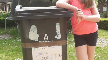 Summer Poppy from Chells Manor in Stevenage decorated her bin to thank key workers. Picture: Sally G