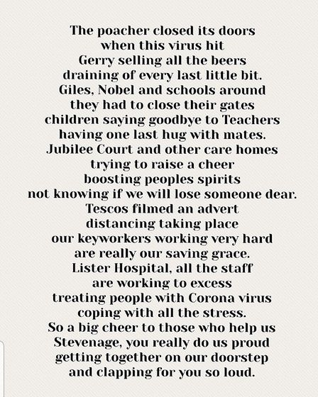 Deborah Johnston from Holly Copse in Stevenage sent in this poem she wrote to thank the NHS. Picture