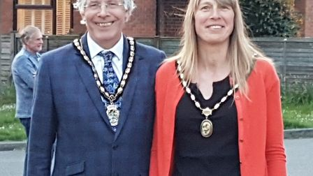 Cllr Jim Brown (left) has been ratified as the new mayor of Stevenage. Picture: SBC