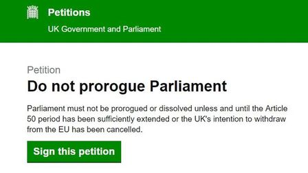 The petition against the prorogation of parliament. Photograph: Parliament.
