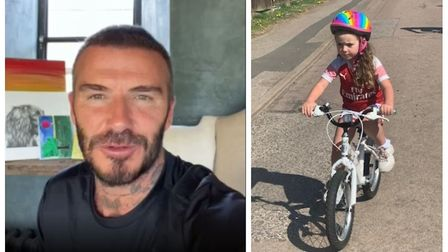 Five-year-old Betty-Leigh has been cycling a mile a day for over a month. Picture: GHHC