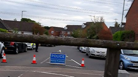 The police cordon in place at Bray Drive, Great Ashby after a man's body was found. Picture: Supplie